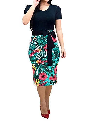 Women's Bodycon Dress Midi Work Casual Floral Prints Pencil Dresses with Belt (Small, Black and Green)
