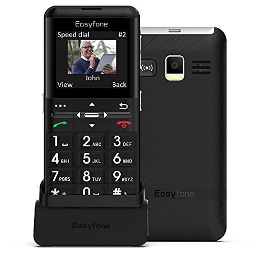 Easyfone Prime-A7 GSM Seniorenhandy ohne Vertrag, 2,0 Zoll HD-IPS-Display Großtasten Mobiltelefon und Notruf-Knopf mit GPS, Hörgeräte kompatibel, Taschenlampe und Ladestation (Schwarz)