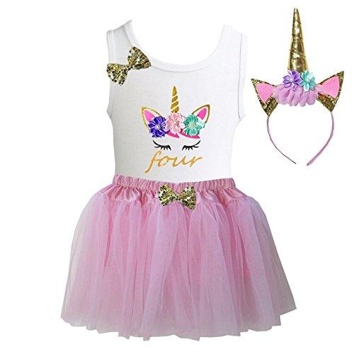 Kirei Sui Girls Light Pink Tulle Tutu Birthday Unicorn S Four