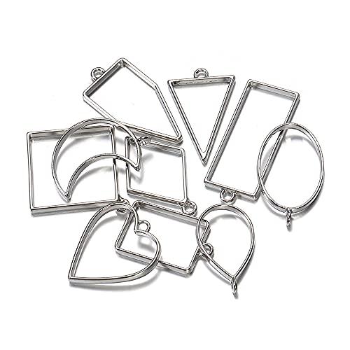 MURUI QA 10pcs métal Cadre géométrique UV époxy résine Moule d'outils pour Bijoux Faire Coeur Ovale Rond Pendentif charmes Accessoires Artisanat Bricolage Bricolage YC820 (Color : 1)