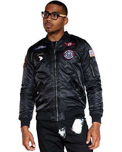 XRAY JEANS Men's Patches Bomber Jacket,Black,XL