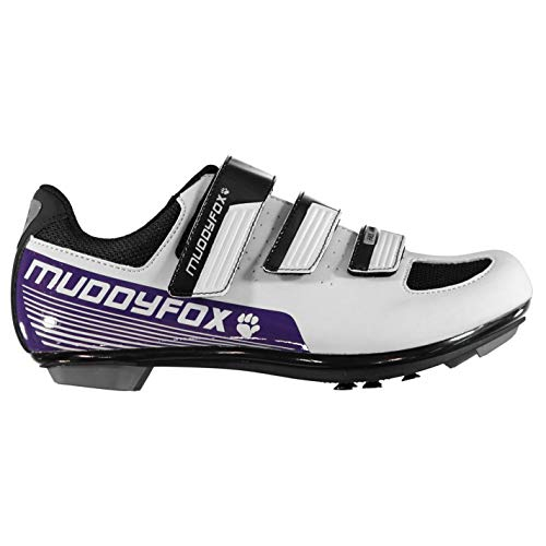 Muddyfox Womens RBS100 Cycling Shoes Road Mesh Panels Touch and Close White/Purple UK 6