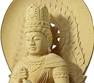 Buddha-Dainichi Statue Plain Wood Round Pedestal (7.8 H x 4.6 W x 4.2 D inches)