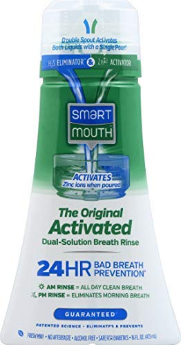 SmartMouth Original Activated Mouthwash for 24 Hour Fresh Breath, Dual-Solution Oral Rinse, 16 Ounce