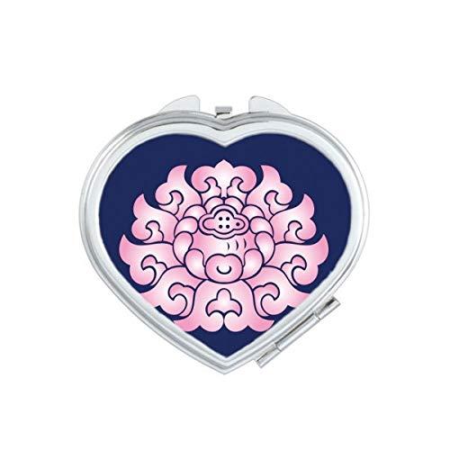 DIYthinker Fleur de Lotus Fleur Plante Rose Coeur Miroir Compact Maquillage Portable Mignon Cadeau Miroirs de Poche à la Main Multicolore