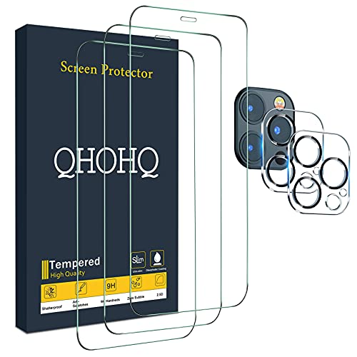 """QHOHQ 3 Pack Screen Protector for iPhone 12 Pro Max 6.7"""" with 2..."""