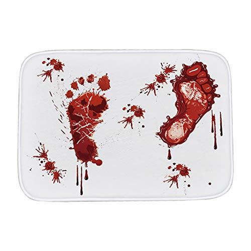 JUSTDOLIFE Bodenmatte Saugfähige rutschfeste Blutige Fußabdruck Bad Matten Tür Matte für Halloween
