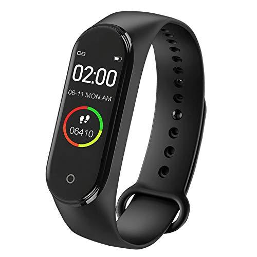 Alpha LED Fitness Armband mit Blutdruckmessung Fitnesstracker Uhr wasserdicht IP64 Sportuhr Pulsuhr mit Schrittzähler Fitness Armband Uhr für Damen Herren Jugendliche Anruf SMS für iOS Android Handy