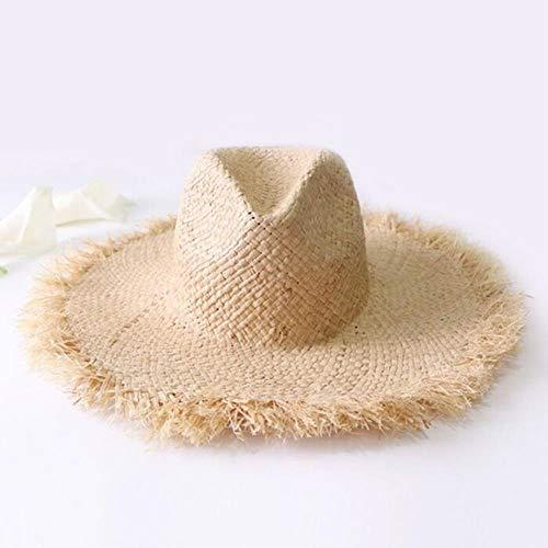 Vie Sommer-Strohhut mit Quaste, für Damen, rauer Strand-Sonnenblende für den Urlaub khaki