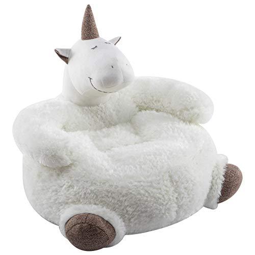 WAYERTY Animal Sillón niños, Niños sofá Felpa Carácter Sillon Bebe, Unicornio-Blanco 65x55x42cm(26x22x17inch)