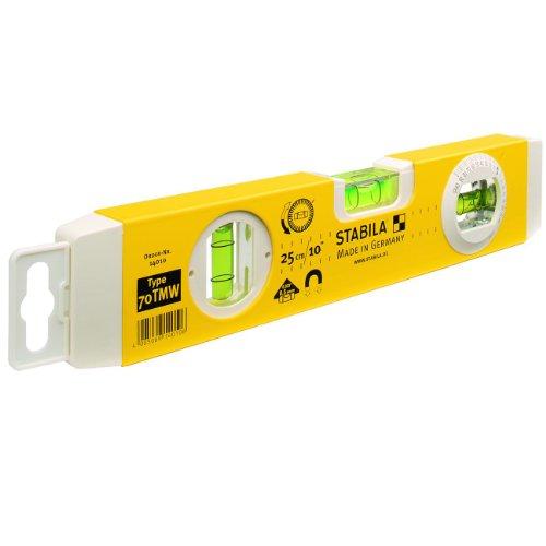 Stabila 14010 70TMW Wasserwaage, Gelb, 27 cm, mit Magnet und Winkellibelle