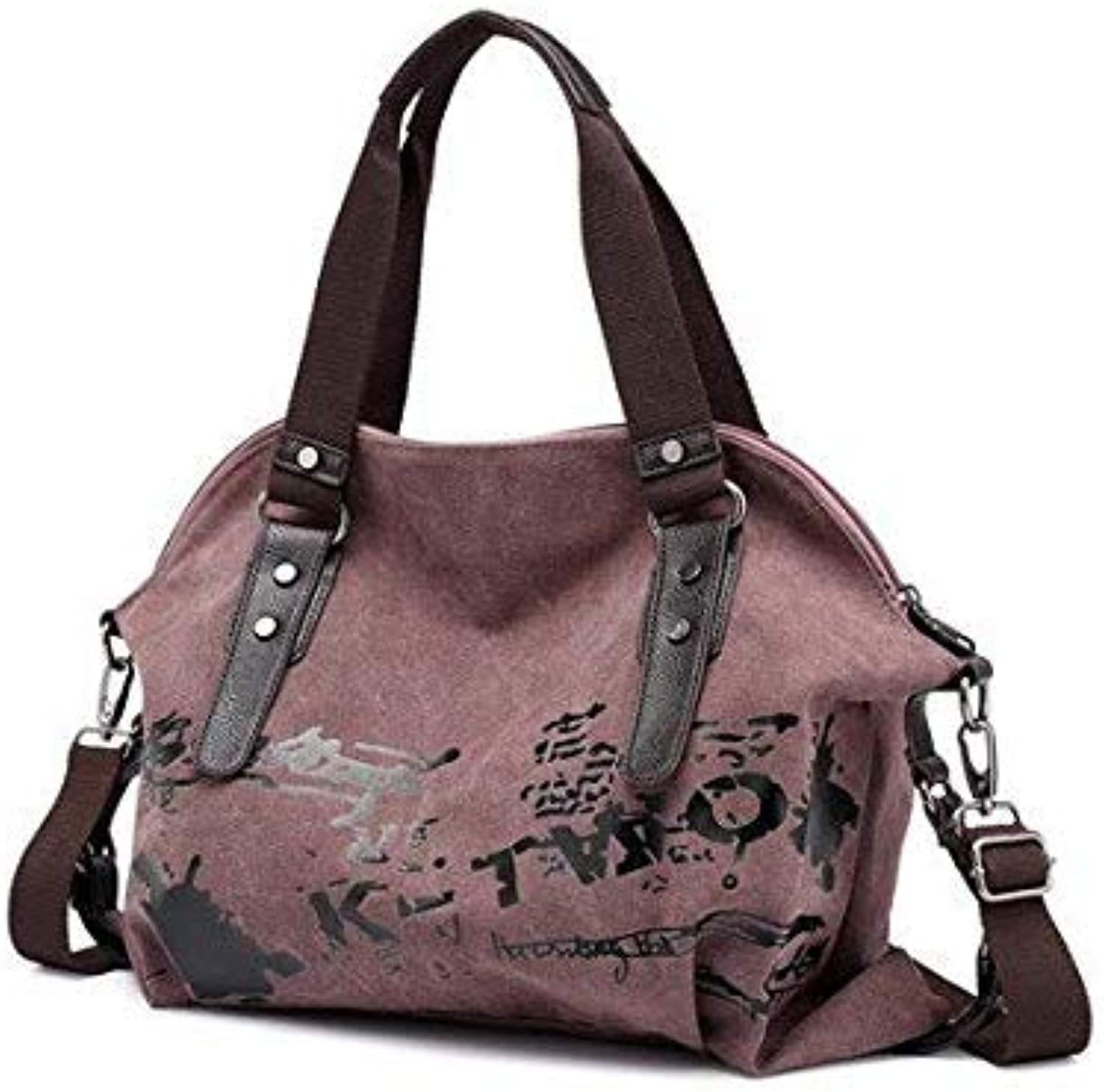 Bloomerang Women's Shoulder Bags Vintage Graffiti Canvas Handbags Famous Designer Female Shoulder Bags Ladies Totes Fashion Large Handbags color Purple 49x12x35cm