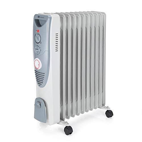 PureMate Oil Filled Radiator, 2500W/2.5KW - 11 Fin - Portable Electric Heater, 3 Power Settings, Adjustable Temperature and Thermostat, Thermal Safety Cut off & 24 Hour Timer