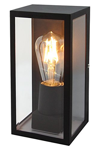 Rectangular Glass Wall Lantern Outdoor Garden Wall Light Black Body Metal Luminaire ZLC084B