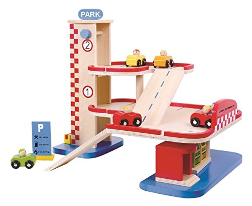 Tooky Toy mehrstöckige Spielzeug-Garage aus Holz für Kinder Inkl. Parkschild, Fahrrampen und Tanksäulen - buntes Kinderspieleug Autogarage
