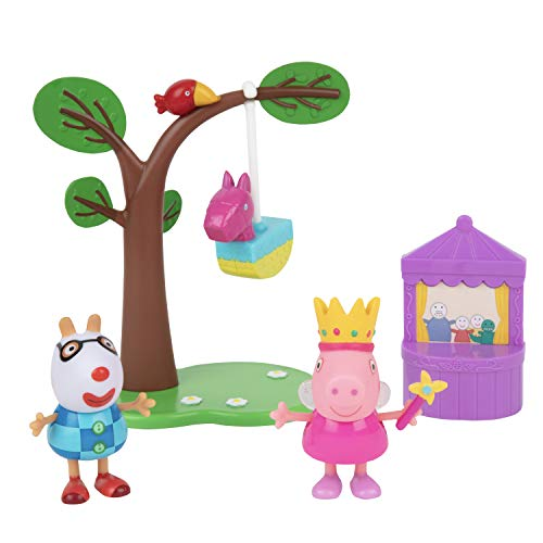 Peppa Pig Birthday Party Playset, 5 Pieces - Includes Peppa & Pedro Figures, Pinata, Puppet Show & Tree - Ages 2+