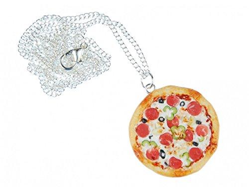 Miniblings Collana a Catena Pizza Pizza Intorno Abbastanza Dettagliato 3D Fimo 60 Centimetri colorato