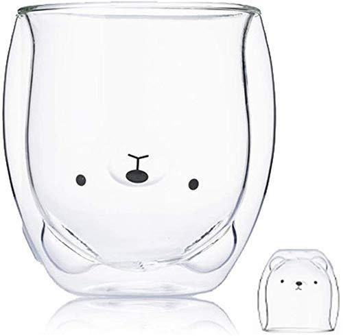 LTHTX Kreativer süßer Bär, doppelschichtiger Kaffeebecher, Doppel-Glastasse, Karton, Tier, Milchglas, Dame (Bär)