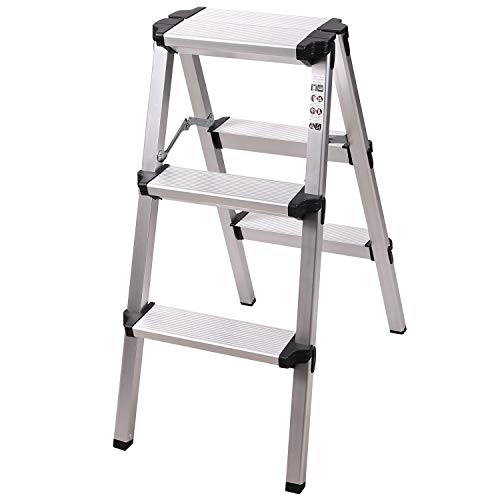 REDCAMP 2-Foot Aluminum Step Ladder 3 Step Folding, Lightweight Portable Step Stool Ladder 330lbs for Kitchen RV Truck Use, White