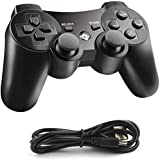 JAMSWALL Controller Replacement for PS3 Controller, Wireless Controller with Upgraded Joystick Compatible with Playstation 3 with Charger Cable Cord, Black
