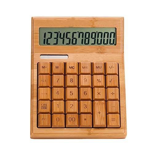 Standard-Taschenrechner Bamboo Smart Calculator Mini Tragbarer Solarcomputer Große Studentenprüfung Office Finance Calculators Dual Power Calculator Bürobedarf & Schreibwaren (Größe : M)