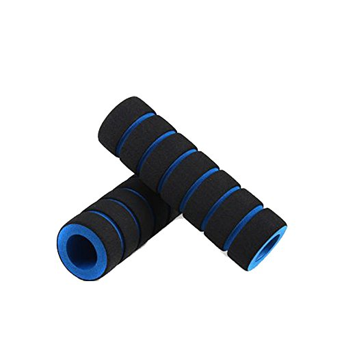 Handlebar Grips, 1pair Bike Racing Bicycle Motorcycle Handle Bar Foam Sponge Grip Cover Non-Slip Handle Grip (Blue)
