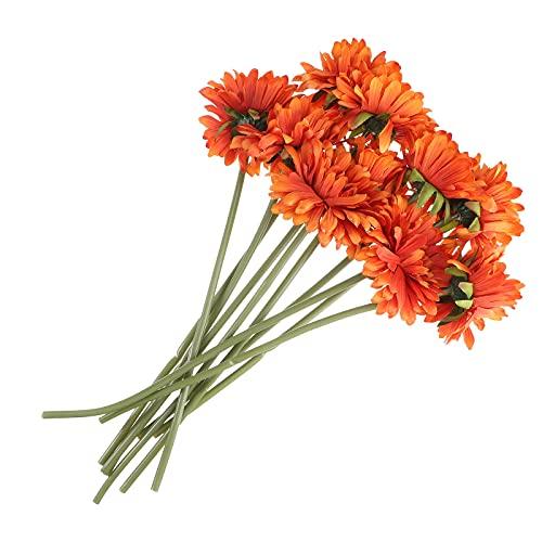 LUOEM 10 stück künstlichen Gänseblümchen Gerbera Kunstblumen für Hochzeit Home Office Garten Dekoration (orange)