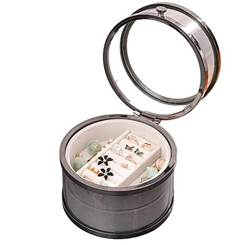 Almacenamiento de joyas Oganizer Caja de almacenamiento de joyas de vidrio de lujo ligero, caja de espectáculo de escritorio cilíndrico, caja de acabado de visualización transparente de 2 capas Para n