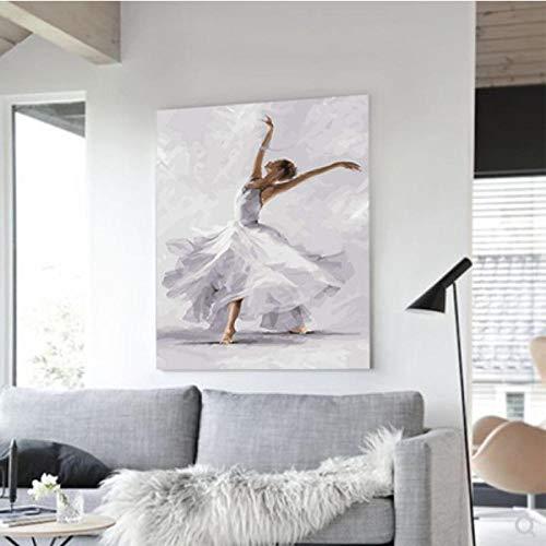 Xyywqybg Diy Malen Nach Zahlen Für Erwachsene Kinder - Einbeinige Balance Des Balletts Drehende Tanzhaltung Leinen Segeltuch - Ölgemälde Weihnachten Geschenke-40X50Cm, Combo Box