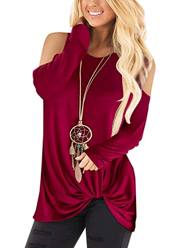 YOINS Sexy Schulterfrei Oberteil Damen Shirt Langarm Off Shoulder Bluse Oberteile für Damen Top Blusen Rotwein EU36-38