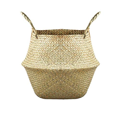 Seagrass Basket Foldable Natural Seagrass Woven Storage Pot With Handle Bellied Basket Nordic Style Garden Plant Flower Vase Hanging Basket,Dark Khaki,S