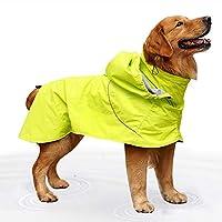 犬用レインコート 中・大型犬ビッグレインコートを調整することが容易のために防水ナイロン布ハイカラー取り外し可能なキャップ ペットレインコート (色 : 緑, Size : L)