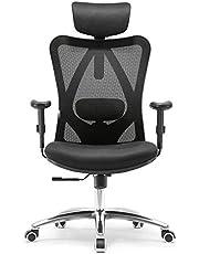 SIHOO Ergonomische bureaustoel, draaistoel heeft verstelbare lendensteun, hoofdsteun en armleuning, hoogteverstelling en kantelfunctie, rugvriendelijk, bureaustoel tot 150 kg belastbaar.