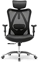 SIHOO Office Chair Ergonomic Office Chair, Breathable Mesh Design High Back Desk Chair with Adjustable Headrest and Lumbar Support (Black)