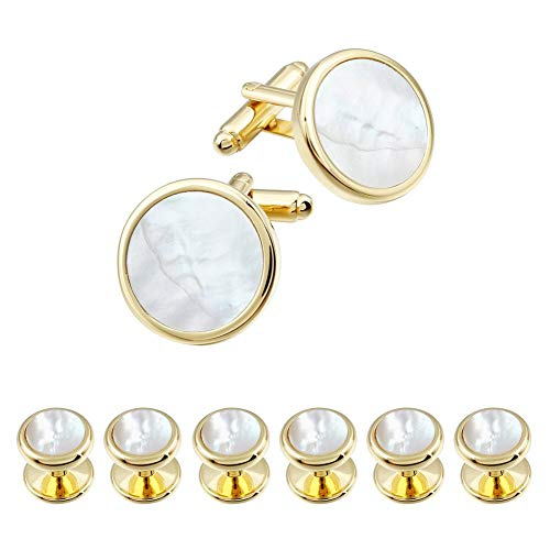 HAWSON Mother of Pearl Man Tuxedo Shirt Studs and Cufflinks Set for Wedding Business (Gold Tone- MOP)