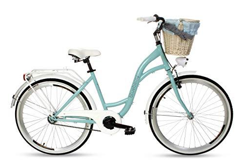 Goetze Blueberry Vintage Retro Citybike Damenfahrrad Hollandrad, 1 Gang ohne Schaltung, Tiefeinsteiger, Rücktrittbremse, 26 Zoll Alu Räder, Korb mit Polsterung Gratis!