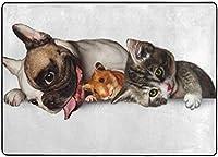 かわいい犬のハムスター猫エリアラグ、リビングダイニングルームの寝室のキッチン用ラグ、5'X7'保育園ラグフロアカーペットヨガマット