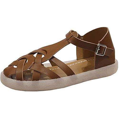 AIJOAIM Sandalias Planas para Mujer, Sandalias cómicas Sandalias de Verano Hueco y Transpirable Punta de Punta Hebilla Zapatos Casuales Peep Toe Sandalias,C,34EU