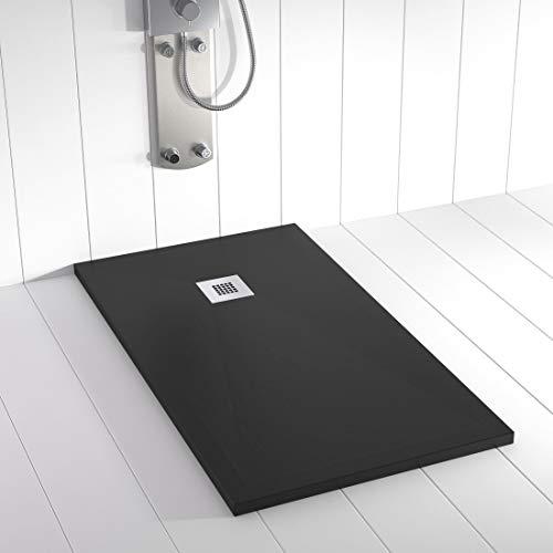 Shower Online Plato de ducha Resina PLES - 100x100 - Textura Pizarra - Antideslizante - Todas las medidas disponibles - Incluye Rejilla Inox y Sifón - Negro 9005