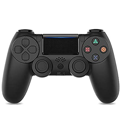 PS4 Controller, Vinsic Wireless Gamepad Joystick Controller for PlayStation 4, Dual Vibration Motor, LED Light Bar, Anti-slip Grip (Bluetooth Version, Matt Black)