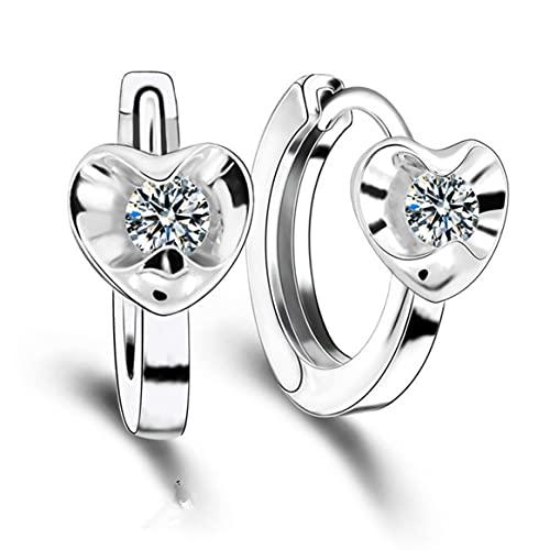 Pendientes, un par de hebillas de oreja de amor tridimensionales Regalo de mujer chapado en platino Accesorio de joyería para mujer hermosa - Plata