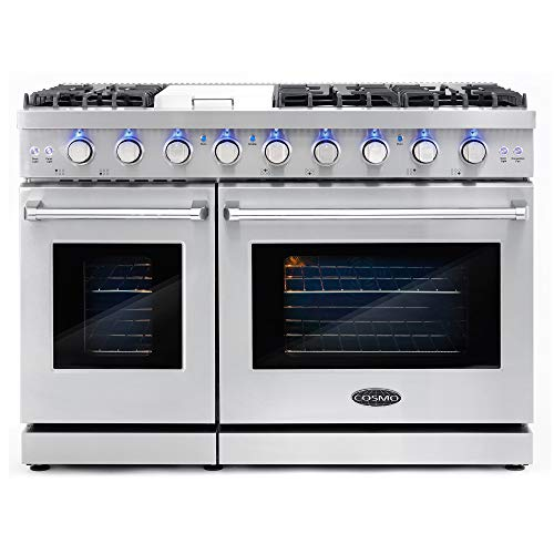 Cosmo COS-EPGR486G 48 in. Slide-in Freestanding Double Gas Range with 6 Sealed Burner & Griddle Cooktop, Cast Iron Grates and Primary Convection Oven in Stainless Steel