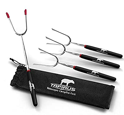 Tapirus Extendable Marshmallow Roasting 4 Camping Sticks | Durable Stainless Steel Equipment BBQ Skewers With Insulated Handles | Telescopic Campfire Forks Utensils For Smores, Hot Dogs & Shish Kebabs