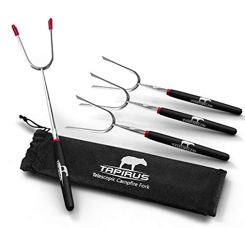 Tapirus Marshmallow Roasting Sticks – Set of 4 Telescoping Campfire Sticks - Protect Kids with...