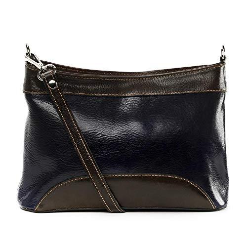 OH MY BAG Sac porté épaule Cuir porté épaule bandoulière et de travers femmes en véritable cuir fabriqué en Italie - modèle Sam Bleu foncé