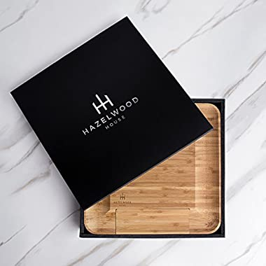 Hazelwood House Bamboo Cheese and Crackers Serving Board, Slide Out Drawer with 4 Piece Stainless Steel Knife and Server Set, Large Square 13x13 , Non Slip Feet, Natural Hygienic Moso Bamboo - 1 pack
