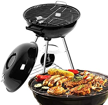 BBQ Grill Charcoal Kettle Barbecue Free Standing Outdoor Large Garden Picnic Party Camping Black