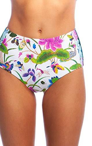 Nanette Lepore Women's Standard High Waist Hipster Bikini Swimsuit Bottom, White//Opulent Garden, 8