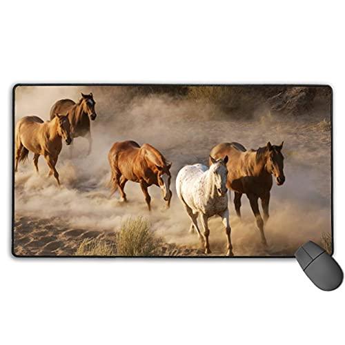 Horse Herd Running Dust Gaming Mauspad Große Mauspads Matte rutschfeste Gummibasis Mousepad für Tastatur Schreibtisch Laptop & mehr
