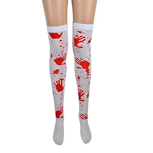 5 pares de calcetines para disfraz de Halloween, cosplay, esqueleto, telaraa, impresin sobre la rodilla Palm Blood Calcetines Talla nica
